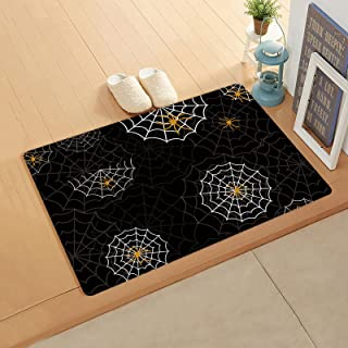 Orange Spide-r Black Webs Doormat for Outdoor Indoor Front Door Entrance Kitchen 24''x26'', Durable PVC Leather Anti Fatig...