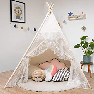 Costzon Kids Teepee Tent, Foldable Children Lace Play Tent for Indoor & Outdoor, 100% Cotton Canvas Teepee, Sturdy Pine Wood, Portable Kids Tent with Window and Carry Bag, Beige