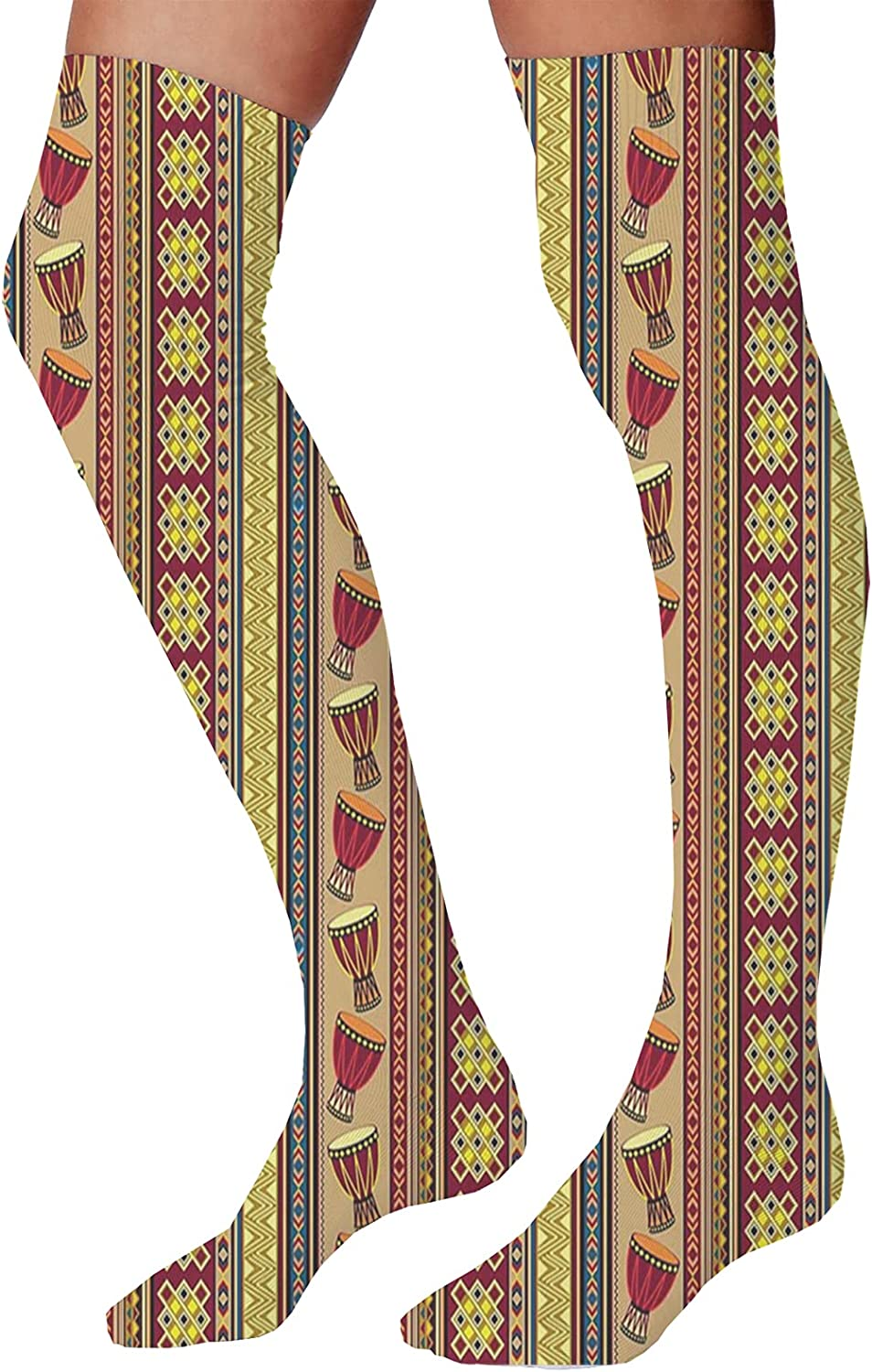 Men's and Women's Fun Socks,African Style Chevron Pattern with Tribal Elegance Ornament Design Theme