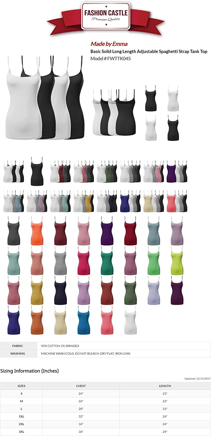 Made by Emma Women's Basic Solid Long Length Adjustable Spaghetti Strap Tank Top