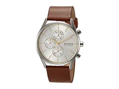 Skagen Holst Multi-Function Watch (SKW6607 Silver Brown Leather) Analog Watches