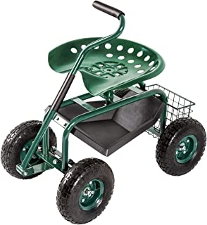 Kinbor Garden Cart Rolling Work Seat with Tool Tray Outdoor Utility Lawn Patio Yard Wagon Scooter for Planting with 360 Degree Swivel Seat, Green