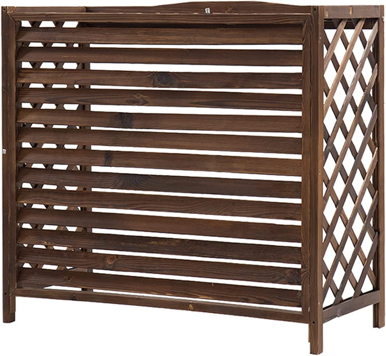 LSMK Rustic Air Conditioner Cover Wooden Plant Stand, Outdoor Air Conditioning Rack Frame Radiator Cover, with Blinds Grid Design, Easy to Care (Size : 86 × 35 × 80 cm)