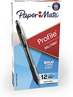 Paper Mate 89465 Profile Retractable Ballpoint Pens, Bold (1.4mm), Black, 12 Count (Package May Vary)