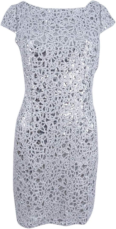 Adrianna Papell Womens Petites Metallic Sequined SemiFormal Dress