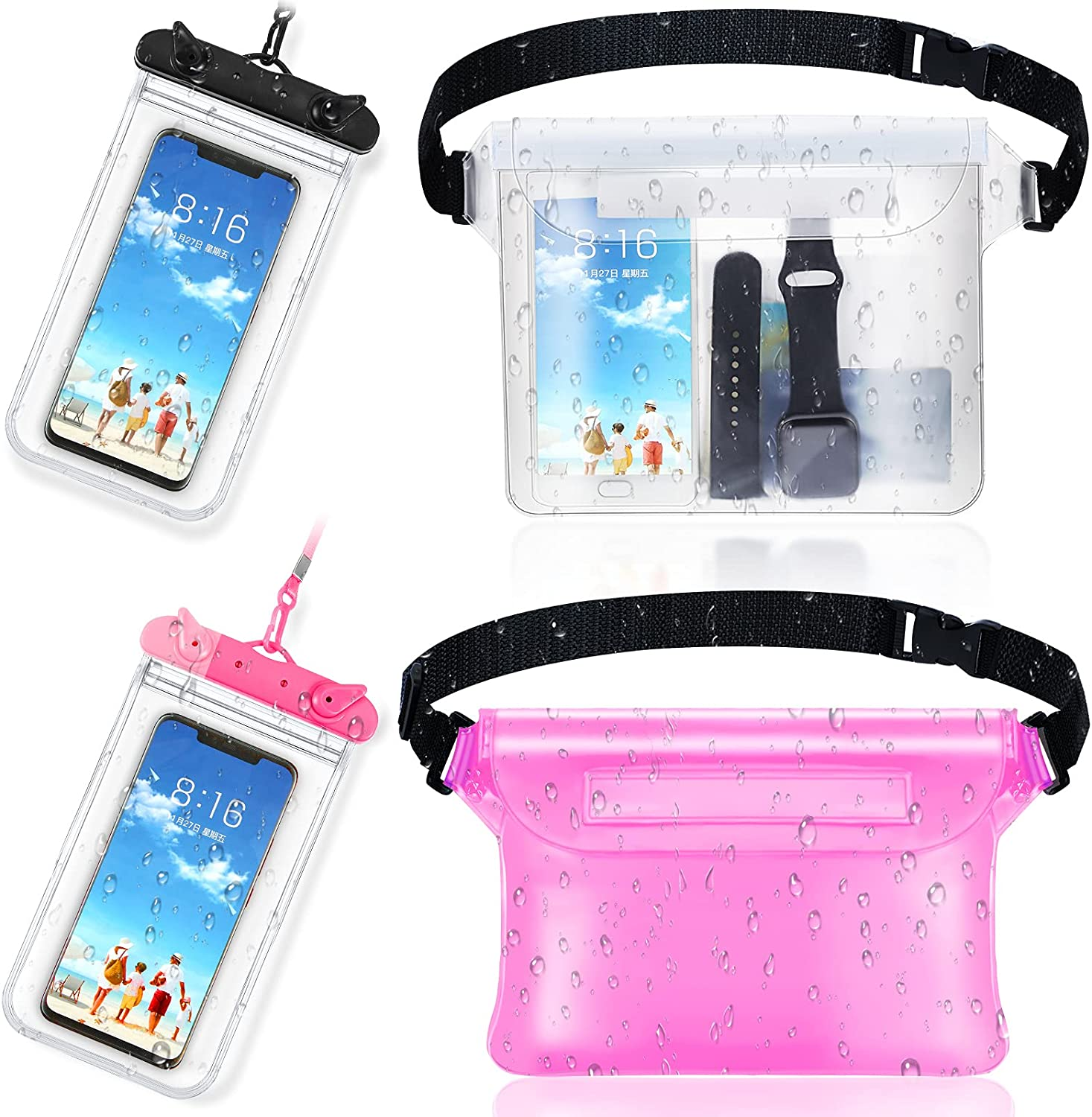 2 Pieces Waterproof Phone Pouch Universal Cellphone Case and 2 Waterproof Fanny Pack with Waist Strap Screen Touchable Dry Bag for Swimming Snorkeling Boating (Clear Black, Clear Pink, Pink)