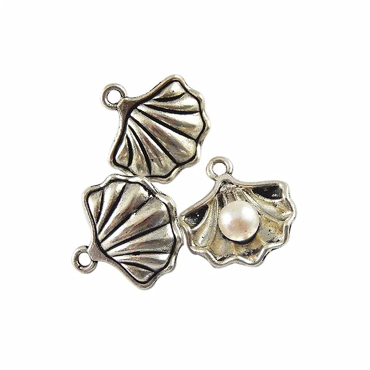 JulieWang 40pcs Antiqued Pearl in Shell Conch Charms Pendants for Jewerly Making (Antiqued Silver)