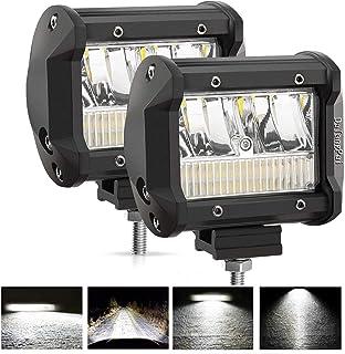 LED Light Bar, 4 Inch 2Pcs LED Light Pods 72W 7200Lm IP68 Waterproof Dual Row Off Road Lighting Driving Lights for Trucks, Offroad, Boat, Pickup, ATV UTV SUV All 12V Vehicles LED Cubes Light