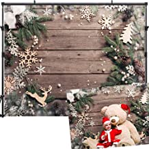 Allenjoy 7x5ft Christmas Backdrops Wood Wall Christmas Backdrops for Photography Snowflake Christmas Party Backdrop Pine Branch Bell Christmas Photo Backdrop Christmas Backdrops for Pictures