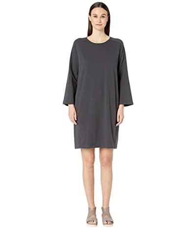 Eileen Fisher Round Neck Bracelet Sleeve Knee Length Dress (Graphite) Women