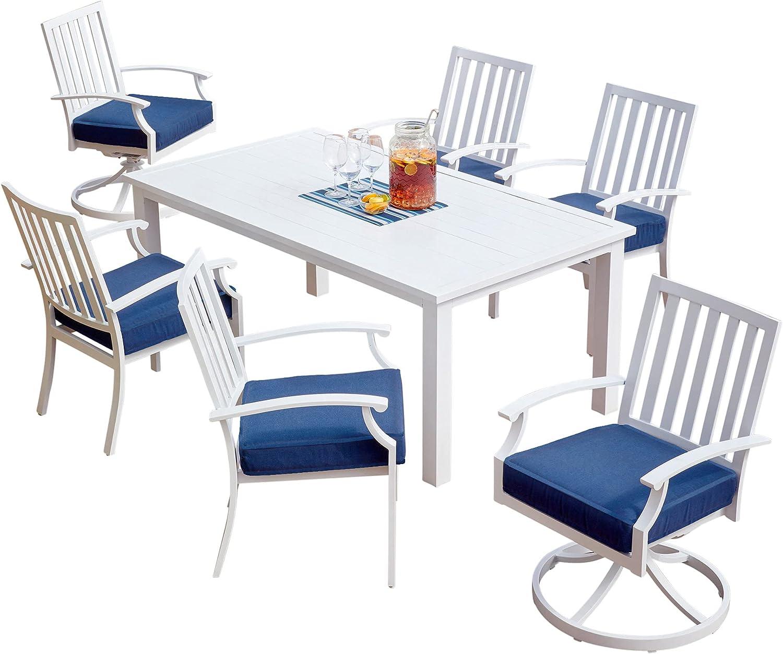 Patio Set - 7-Piece Patio Dining Set - Outdoor Patio Set - Vesper Collection - Dining Set Patio Furniture - Full Set - White/Blue