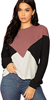 SweatyRocks Women's Casual Color Block Long Sleeve Tops Knit Pullover Shirts Sweater