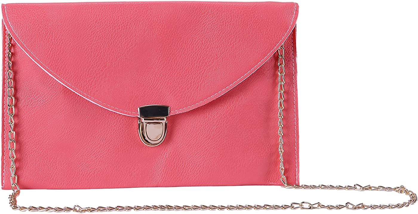 HDE Women's Bright Crossbody Gold Chain Leather Evening Envelope Clutch Purse
