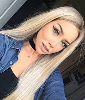 K'ryssma Fashion Ombre Blonde Glueless Lace Front Wigs 2 Tone Color Dark Roots Side Part Long Natural Straight Heat Resist...