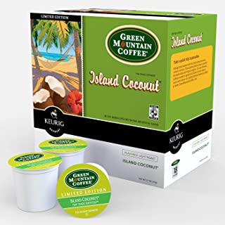 Green Mountain Coffee Roasters Island Coconut, Single-Serve Keurig K-Cup Pod, Flavored Light Roast Coffee, 48 Count (2 Boxes of 24 Count Pods)