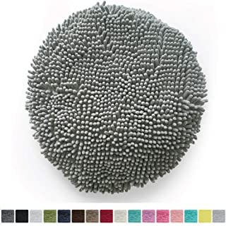 Gorilla Grip Original Shag Chenille Bath Rug Toilet Lid Cover, 19.5 Inchx18.5 Inch Large Size, Machine Washable, Ultra Soft Plush Fabric Covers, Fits Most Size Toilet Lids for Bathroom, Gray