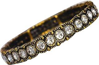 AyA Fashion Oxidised Gold Bracelet with Stones Elastic Bracelet Like Bangle for Women