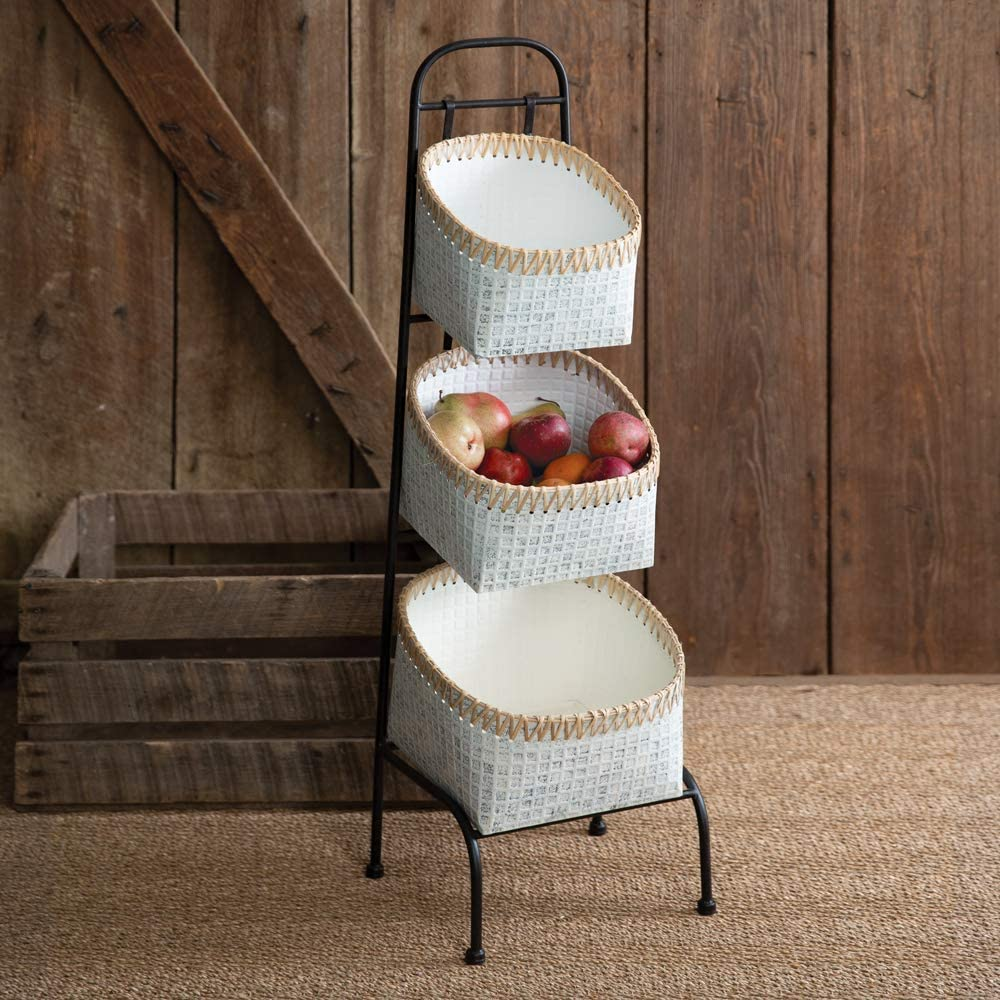 CTW Home Collection Cheap super special price 530403 Whitewash Metal and Cane Three-Tier B All items free shipping