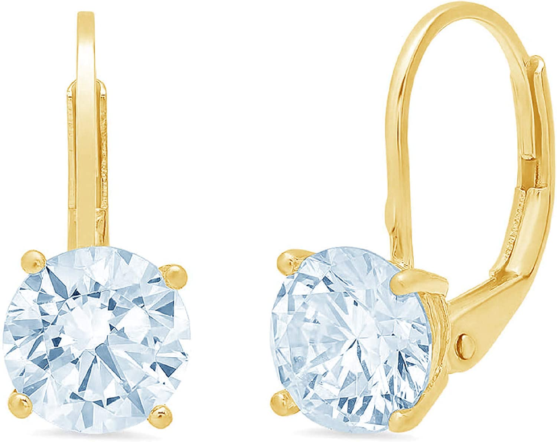 1.44cttw Round Cut ideal VVS1 Conflict Free Gemstone Solitaire Genuine Aquamarine Blue CZ Unisex Designer Lever back Drop Dangle Earrings Solid 14k Yellow Gold