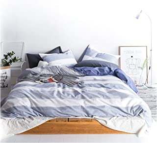 Eikei Home Cabana Stripe Modern Duvet Cover 100-Cotton Twill Bedding Set Geometric White and Navy Distressed Rugby Stripes Print in Dusty Blue Shades Reversible (King, Navy)
