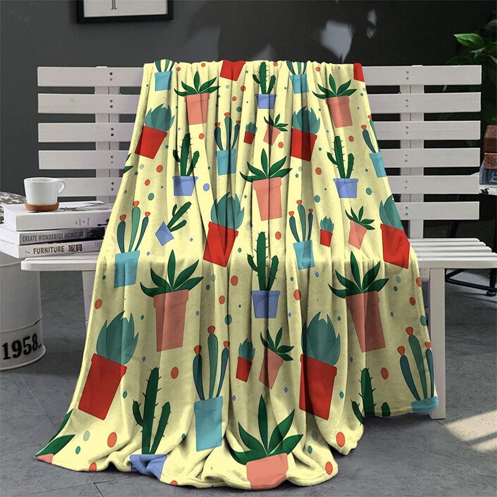 Custom Blanket Vintage Flower Pot Design Pattern Max supreme 56% OFF Illustra Cactus