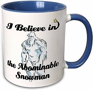 3dRose 104705_6 I Believe in Abominable Snowman Two Tone Mug, 11 oz, Blue/White