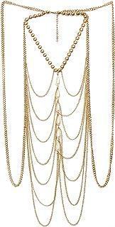 Femnmas Pearl Body Chain Sexy Body Chain Gold Pearl Waist Chains Beach Bikini Body Belt Jewelry for Women and Girls