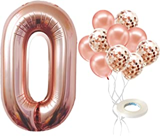 Rose Gold Number Balloons 0 - Large, 40 Inch | Rose Gold Birthday Decorations | Rose Gold Confetti Party Balloons | Number...