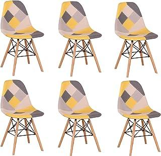 BenyLed Lot de 6 Chaises de Salle à Manger Rétro Patchwork Chaise Tissu Salle à Manger Chaise pour Cuisine Salle à Manger...