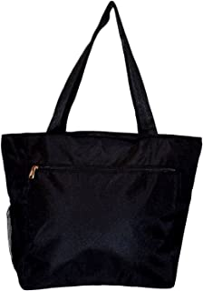 Large Multi - Pocket Fashion Zipper Top Beach Bag Tote - Custom Embroidery Available (Solid Black)