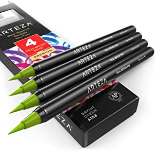 ARTEZA Real Brush Pens (A153 Bright Green) Pack of 4, for Watercolor Painting with Flexible Nylon Brush Tips, Paint Markers for Coloring, Calligraphy and Drawing