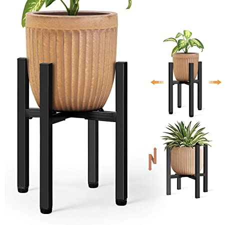 """Lamberia Metal Tall Plant Stand, Mid Century Modern Metal Pot Stand,Modern Adjustable Indoor Outdoor Plant Holder,Plant Display Rack Fits Pots Sizes 8-11"""" (Pot Not Included)"""