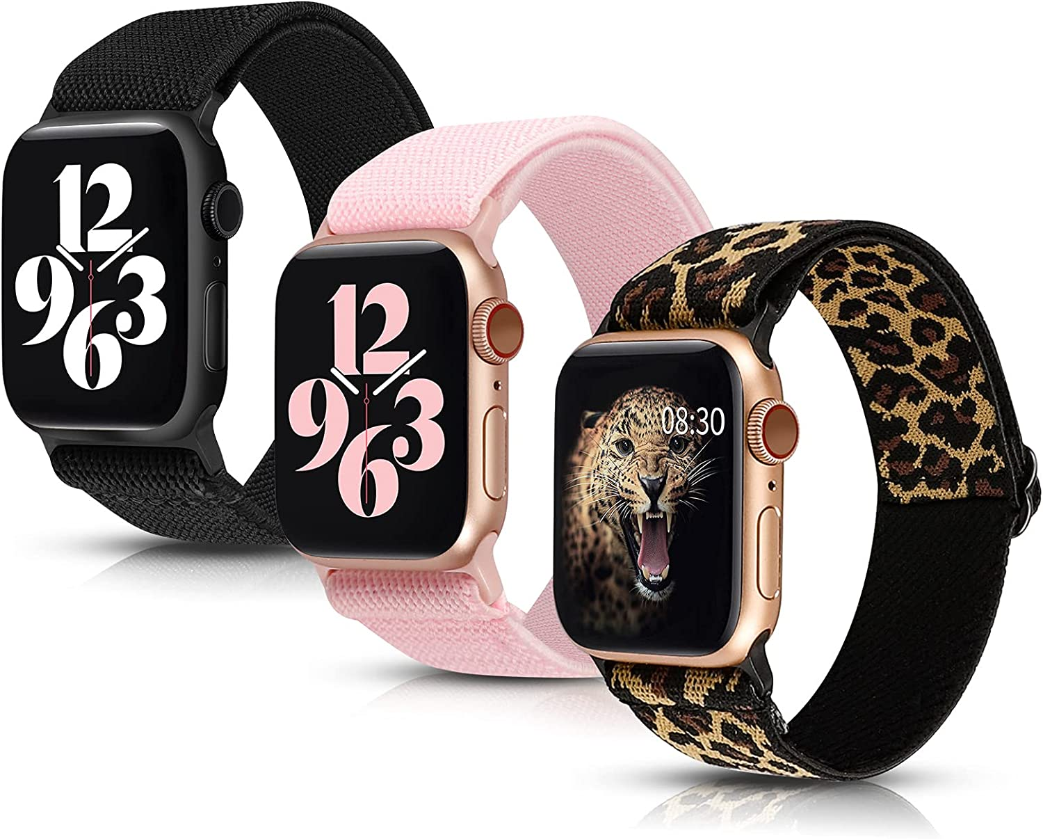 Moolia 3 Packs Stretchy Nylon Loop Compatible with Apple Watch Band 42mm 44mm Women, Adjustable Soft Elastic Strap Sport Men for iWatch Series SE 6 5 4 3 2 1, Black/Leopard/Pink