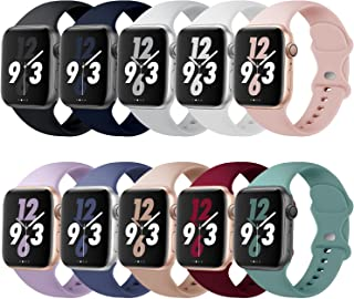 Acrbiutu Bands Compatible with Apple Watch 38mm 40mm 42mm 44mm, Replacement Soft Silicone Sport Strap for iWatch SE Series...