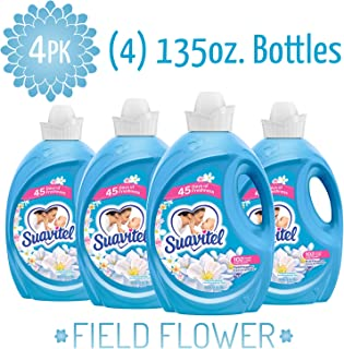 SUAVITEL Fabric Softener, Field Flowers, 102 Laundry Loads, Laundry Supplies, Long Lasting, Sensitive Skin Fabric Softener, Softens Clothes, 135 Ounce Bottle (Pack of 4) (Model Number: 139371)
