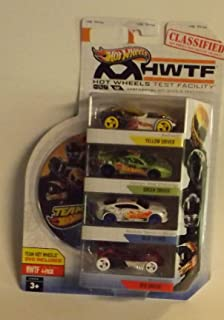 Hot Wheels Test Facility 4-pack with Team Hot Wheels DVD - Yellow Driver, Green Driver, Blue Driver, Red Driver