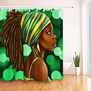 LB Afro Woman Shower Curtain Set for Bathroom, African American Lady Decor for Bathroom, 70x70 Fabric Shower Curtain Waterproof