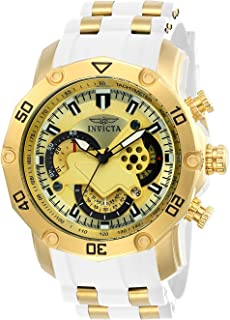 Invicta Men's Pro Diver Stainless Steel Quartz Watch with Silicone Strap, White, 26