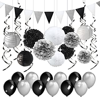 Black and Silver Party Decorations Tissue Paper Pom Poms Paper Lanterns Pennant Banner Swirls Pack for Birthday Party, Bachelorette, Retirement, Graduation Decorations