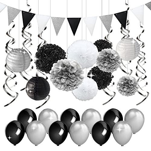 KREATWOW Black And Silver Party Decorations Tissue Paper Pom Poms Lanterns Pennant Banner Swirls Pack