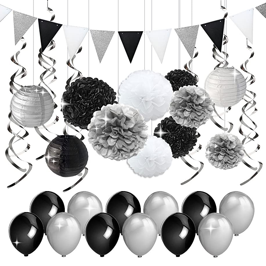 KREATWOW Black and Silver Party Decorations Tissue Paper Pom Poms Paper Lanterns Pennant Banner Swirls Pack for Birthday Party, Bachelorette, Retirement, Graduation Decorations