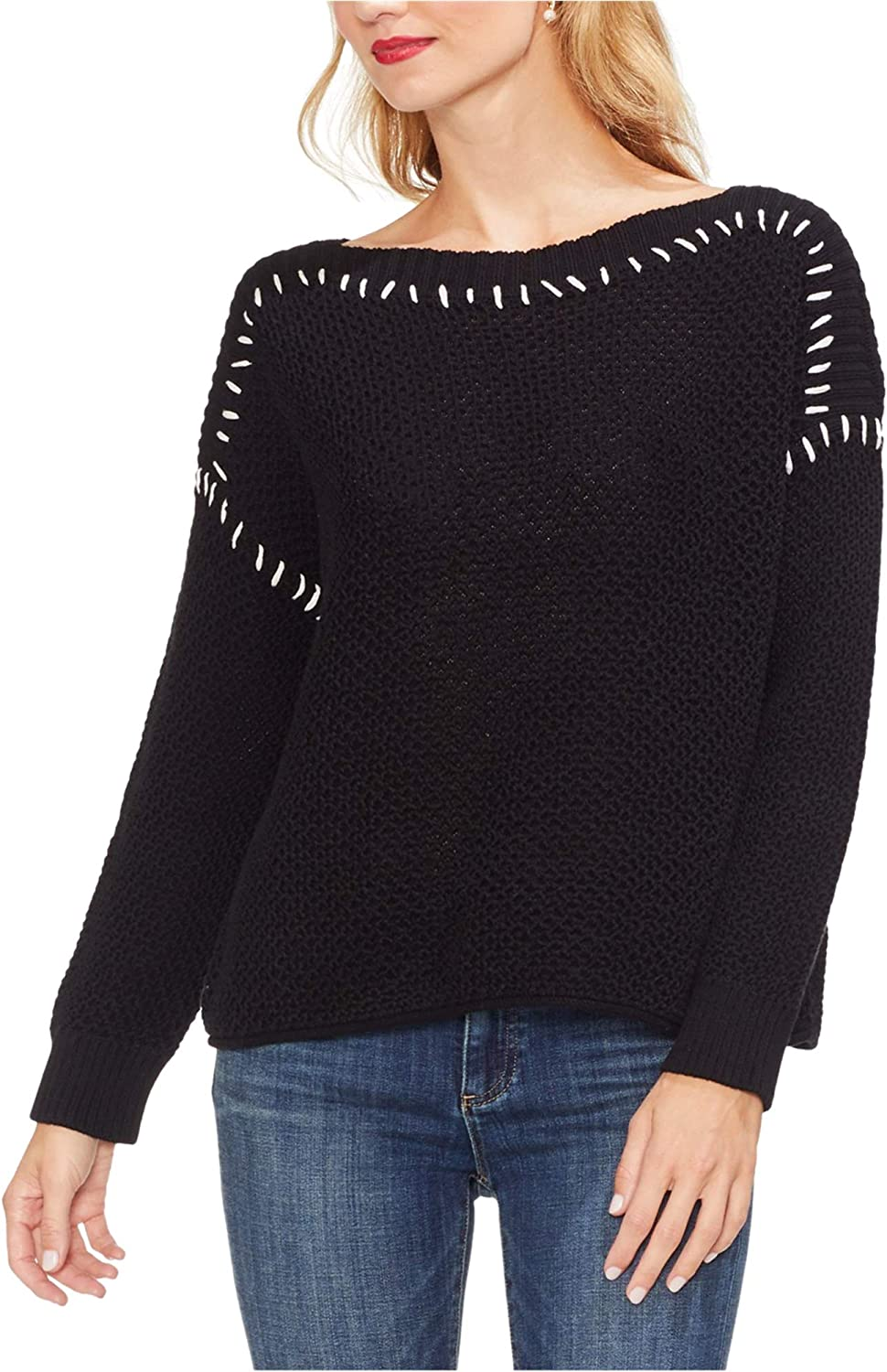 Vince Camuto Womens Contrast Stitching Pullover Sweater, Black, Medium