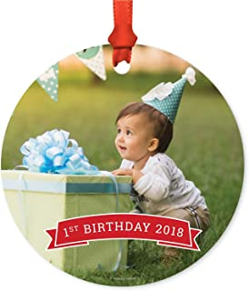 Andaz Press Photo Personalized Christmas Ornament, Red Banner, 1st Birthday 2019, 1-Pack, Includes Ribbon and Gift Bag, Custom Image
