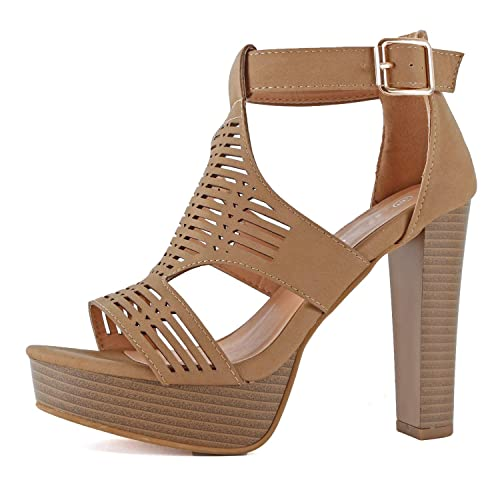 a428c0aa606 Guilty Shoes Womens Cutout Gladiator Ankle Strap Platform Block Heel  Stiletto Sandals