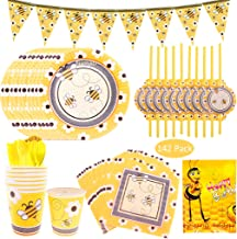 142Pcs Bee Happy Birthday Supplies, DreamJ Bee Disposable Tableware Set with Little Bee Plates Cups Straws Napkins Happy Birthday Tablecloth Knifes Forks Bee Banner Serves 20 for Baby Shower Birthday Party Supplies