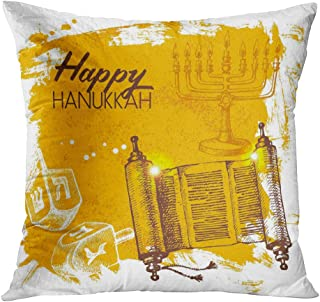 Moladika Throw Pillow Cover Square 16 x 16 Inch Hanukkah Sketch Israel Festival Yellow Candles Cushion Home Decor Living Room Sofa Bedroom Office Polyester Pillowcase