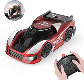 DEERC Remote Control Car with Wall Climbing RC Car with Dual Mode,Low Power Protection,360°Rotating Stunt,Rechargeable High Speed Mini Toy Vehicles with LED Lights,Gifts for Boys Girls Kids,Color Red
