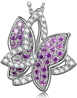 "NINASUN Women Christmas Necklace Gifts Violet Butterfly Women Necklace 925 Sterling Silver Necklace Animal Design AAA CZ Pendant Fine Jewelry for Women 18"" + 2"" Extender"