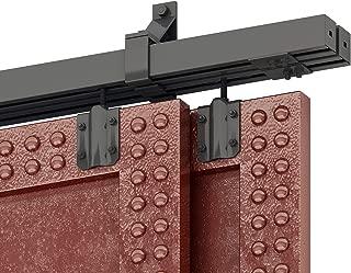 DIYHD 8FT Box Rail Heavy Duty Bypass Barn Hardware Black Box Track Exterior Sliding Barn Door Kit