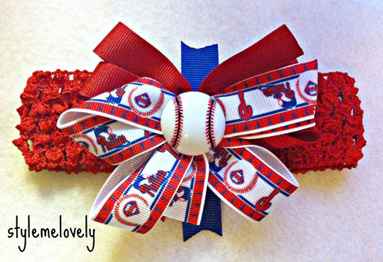 Philadelphia Phillies Baby Girl Boutique Bow Crocheted Headband